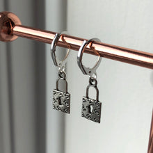 Load image into Gallery viewer, LOCK HUGGIE HOOP EARRINGS