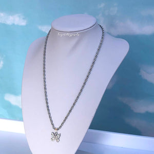 SILVER DIAMANTE BUTTERFLY NECKLACE