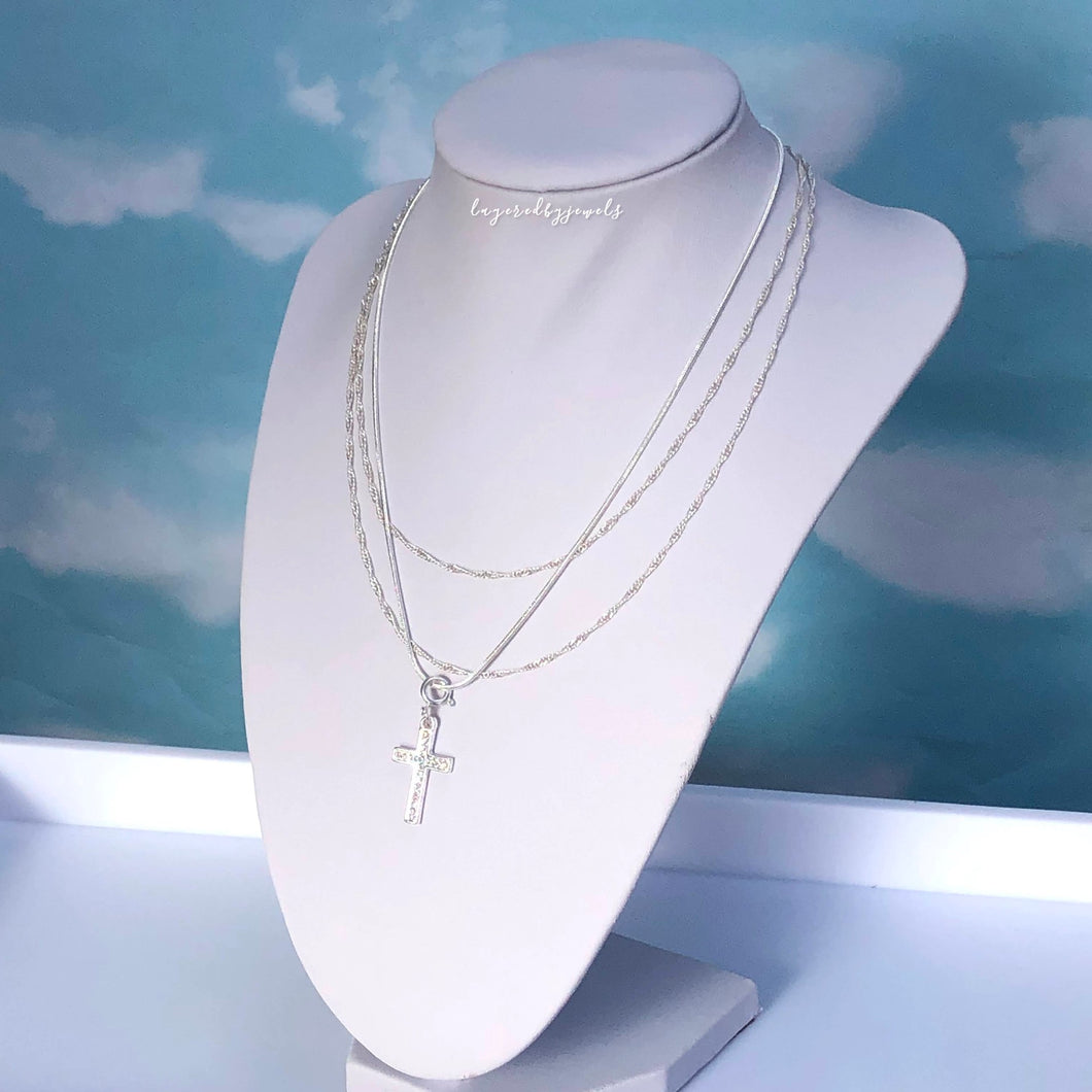 SILVER DIAMANTE CROSS NECKLACE
