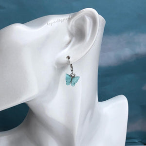 SILVER BLUE FLUTTER HUGGIE HOOP EARRINGS