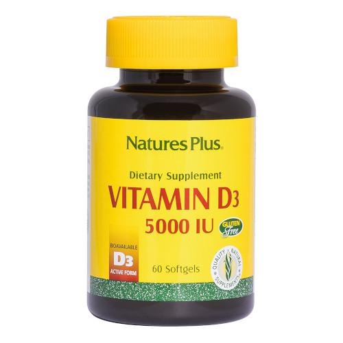 Nature's Plus Vitamin D3 5000 IU 60 Softgels-Nature's Plus-Ur Vitamins