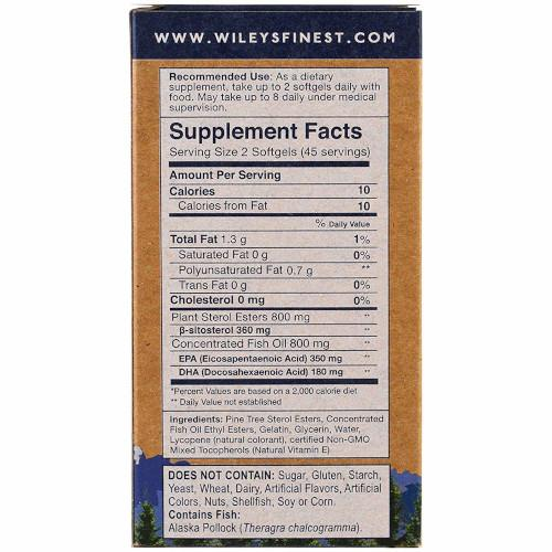 Wiley's Cholesterol Support EPA DHA B-Sitosterol 90 softgels-Wiley's-Ur Vitamins