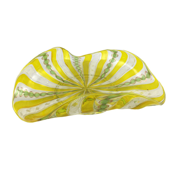 Yellow Striped Murano Dish