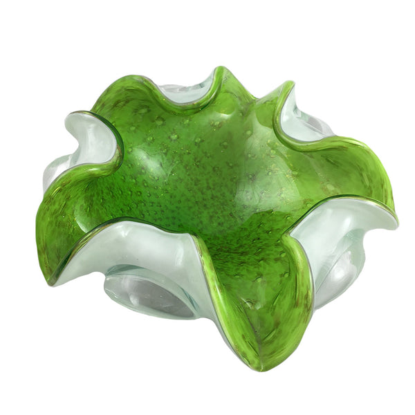Vivid Green 5-Point Murano Dish