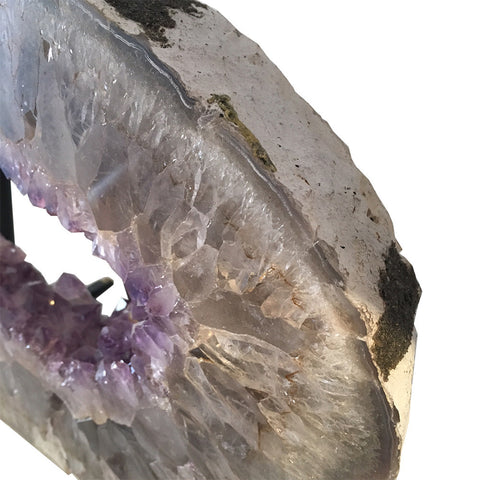 Cross-Cut Amethyst Slice on Stand