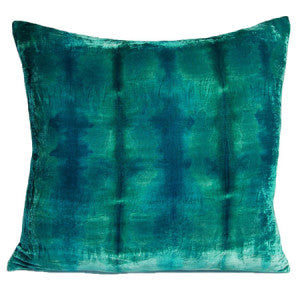 Silk Velvet Rorschach Pillow, Aqua