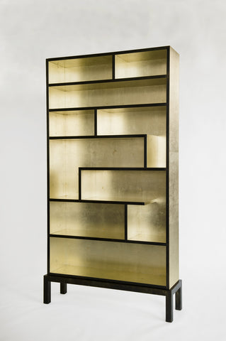 White Gold and Steel Bookcase