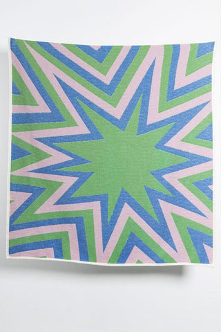BANG! Cotton Blanket / Throw by Liz Collins - Green
