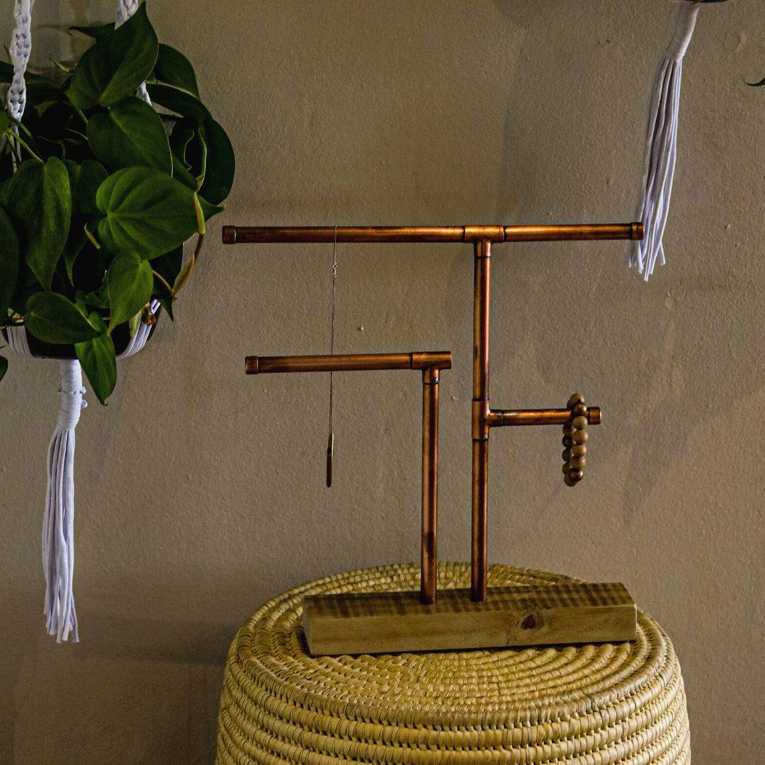 copper jewellery stand: three arms