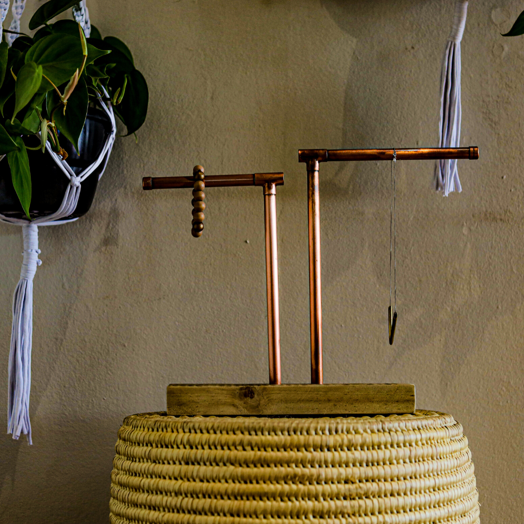 copper jewellery stand: two arms