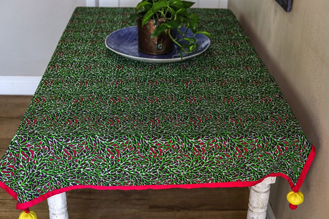 tassled table cloth: forest