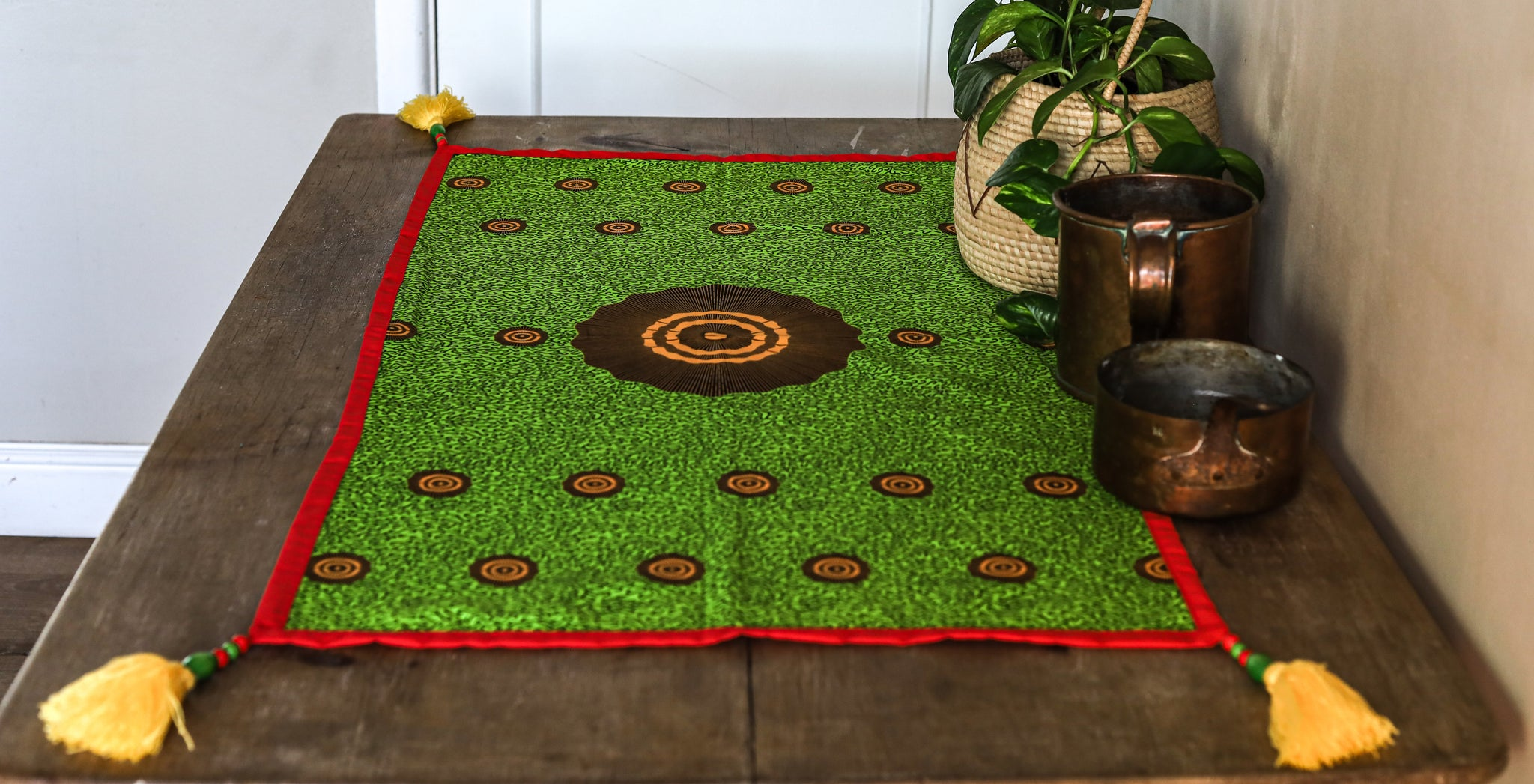 tassled table runner: uganda