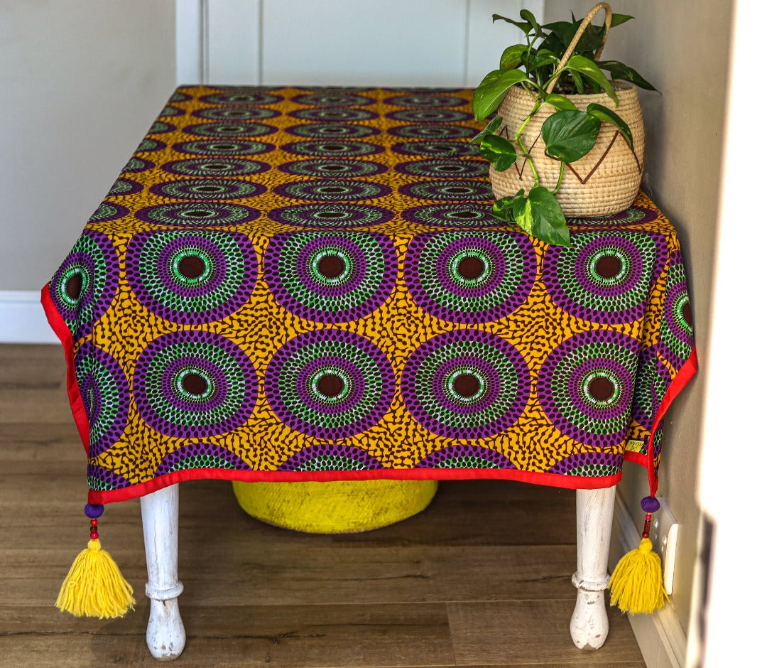 tassled table cloth: lake