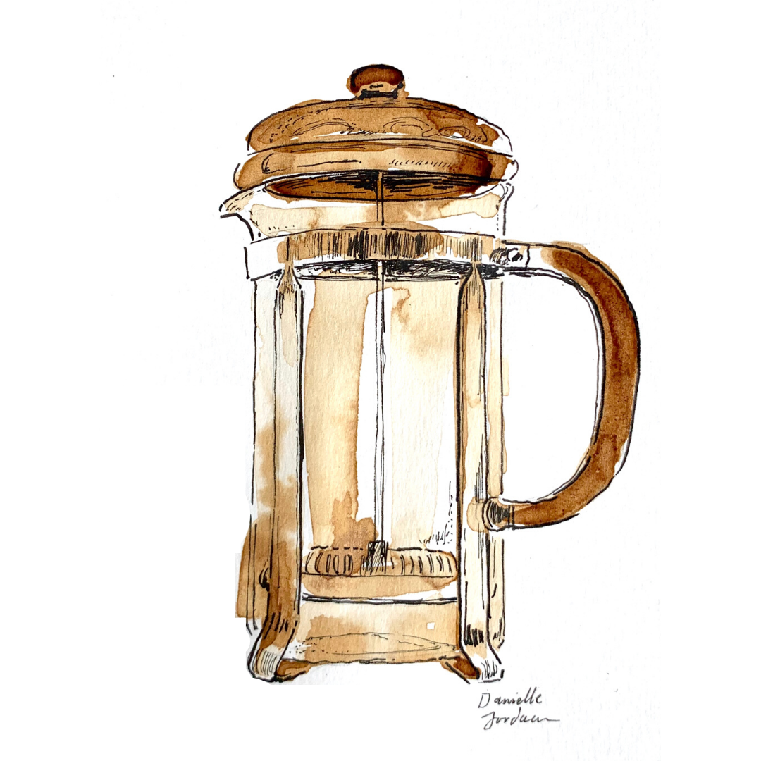 coffee painting: french press print