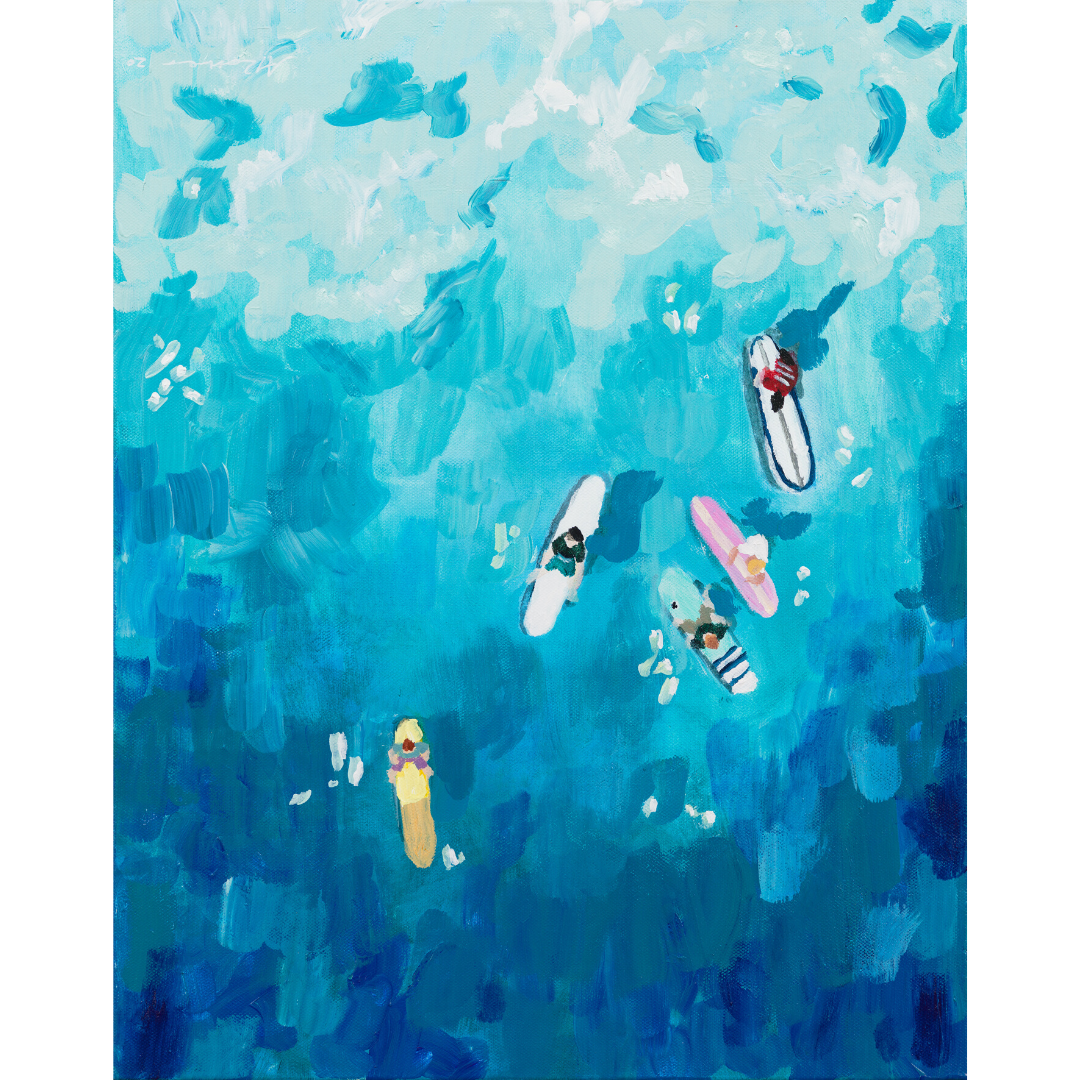acrylic art: surfers
