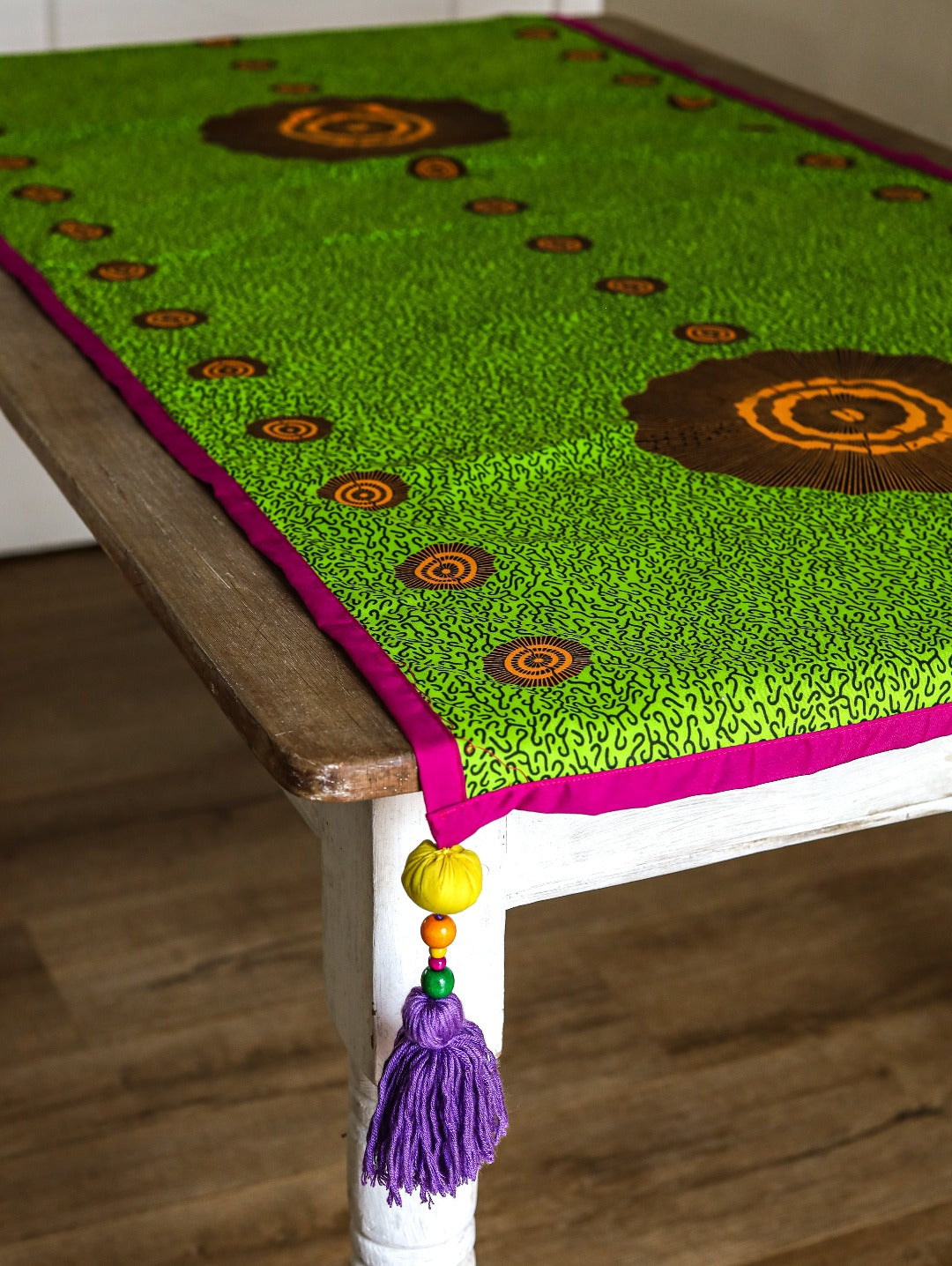 tassled table runner: abundance