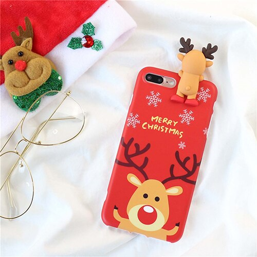 Cute Cartoon Christmas 3D Doll Deer Snowman Phone Case For iPhone X XS XR XS Max 6 6S 7 8 Plus Christmas Soft TPU Back Cover