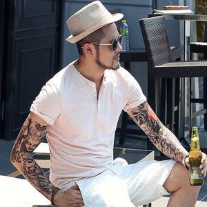 Bamboo cotton men's short sleeved T-shirt summer Henry collar casual Metrosexual men slim new brand top tees