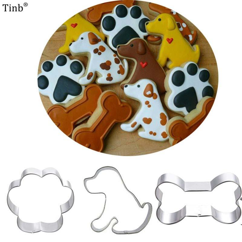 3pcs Patisserie Reposteria Pet Dog Bone Claw Fondant Cake Decor Tools Metal Cookie Cutter Paste Chocolate Biscuit Mold Bakery