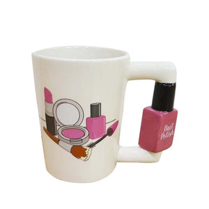 300ml Creative Ceramic Mugs Girl Tools Beauty Kit Specials Nail Polish Handle Tea Coffee Cup Personalized Mug Beauty Tool Cup