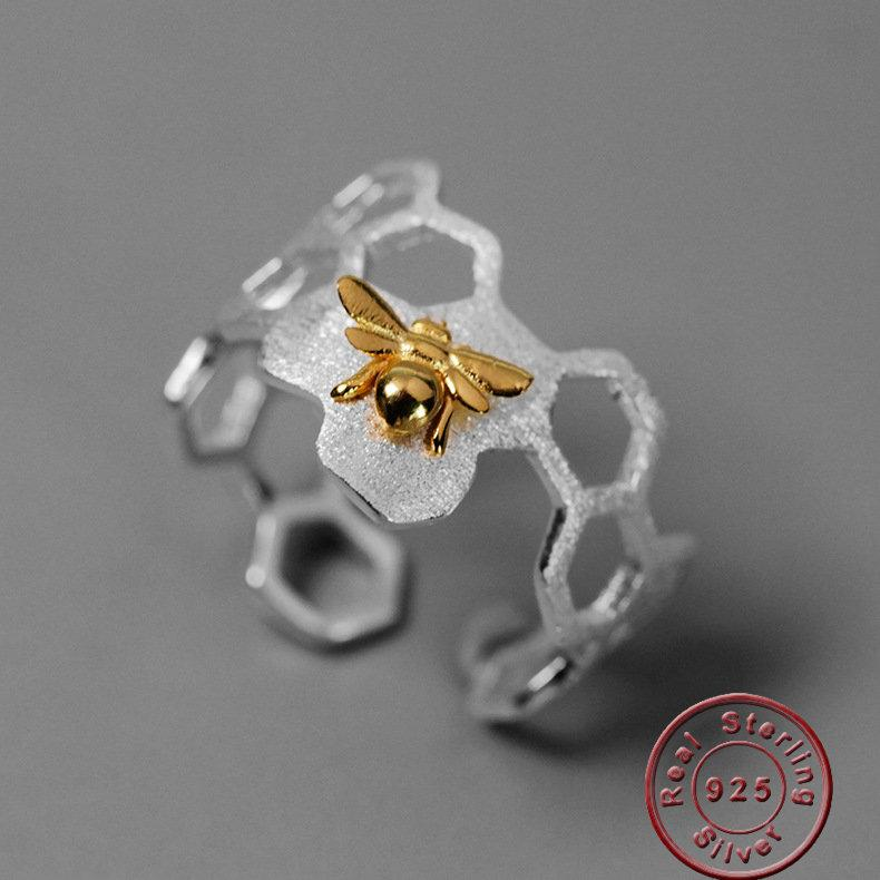 Amxiu 925 Sterling Silver Handmade Jewelry Adjustable Open Ring Gold Bee Honeycomb Rings for Women Bijoux Party Gift Accessories