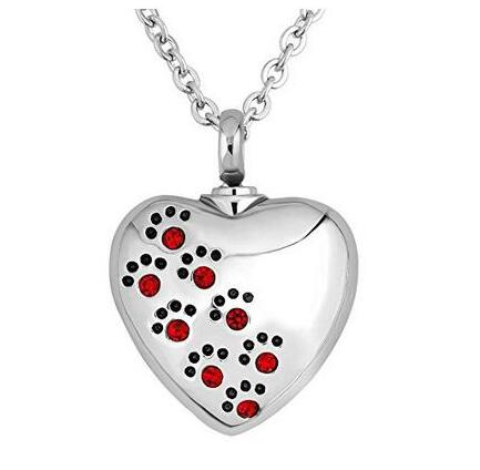 Crystal Pet Dog Paw Print Heart Urn Pendant Necklace