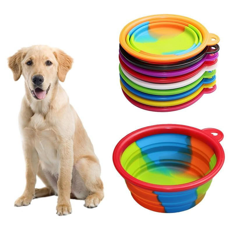 1Pcs Portable Travel Bowl Dog Feeder Water Food Container Silicone Small Mudium Dog Pet Accessories Folding Dog Bowl Outfit