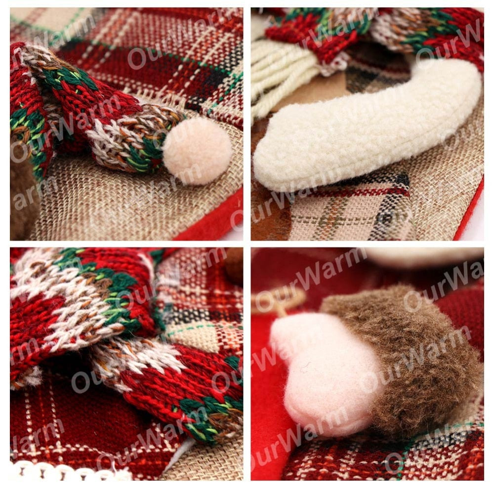 Warm Large Christmas Stocking Santa Claus Sock Plaid Burlap Gift Holder Christmas Tree Decoration New Year Gift Candy Bags