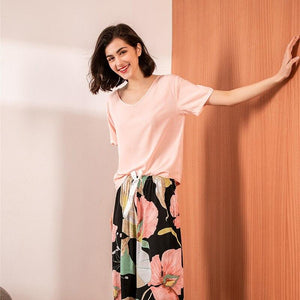 Floral Printed Pyjama Sleepwear Female Casual V Neck Short Sleeve Elastic Waist Nightwear Retro Women's Pajamas Sets