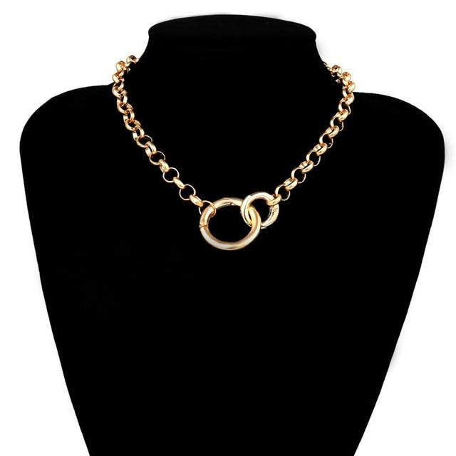 Gold Color Double Round Circle Lasso Choker Necklace Collar Statement Necklace Clavicle