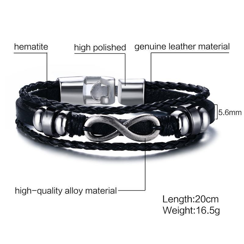 Infinity Men Bracelet Genuine Leather Black Hand Chain Friendship Brazelt Women Fashion 2018 Pulseira Masculina Dropshipping