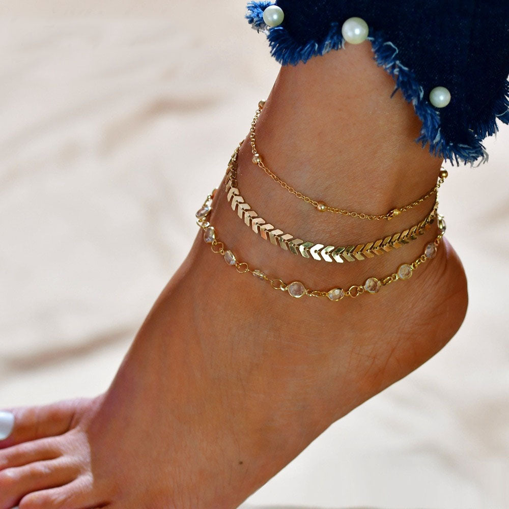 Fashion Crystal Anklet Set Vintage Handmade Ankle Bracelet for Women Party Summer Beach Accessories 3Pcs/Set