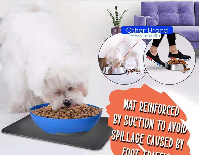 Silicone suction bowl mat non-slip pet bowl non-slip collapsible dog bowl mat and sucker feet silicone food caps 30D6