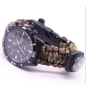 Military Outdoor Paracord Survival Bracelet Compass 6 In 1 Fire Watch Bileklik Erkek Whistle Buckle Safety Climbing Rope Lanyard