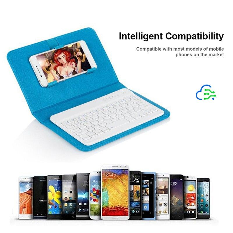 Portable PU Leather Wireless Keyboard Case for iPhone Protective Mobile Phone with Bluetooth Keyboard For IPhone Android Phone
