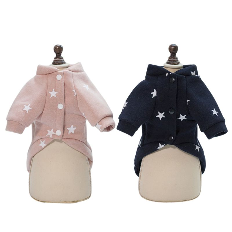 Warm Pet Dogs Hoodies Pentagram Five Stars Pattern Puppy Clothes Cute Autumn and Winter Dog Accessories