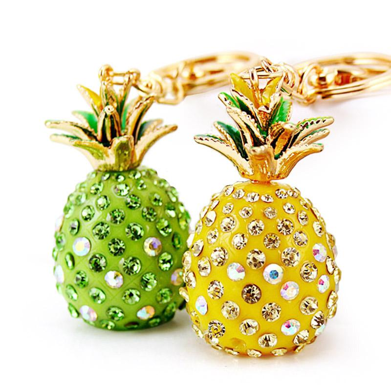 Tropical Fruit Pineapple Crystal Keychains, accessories, key ring carm,Purse Bag Pendant For Car Keyrings High-grade Gift key chains holder