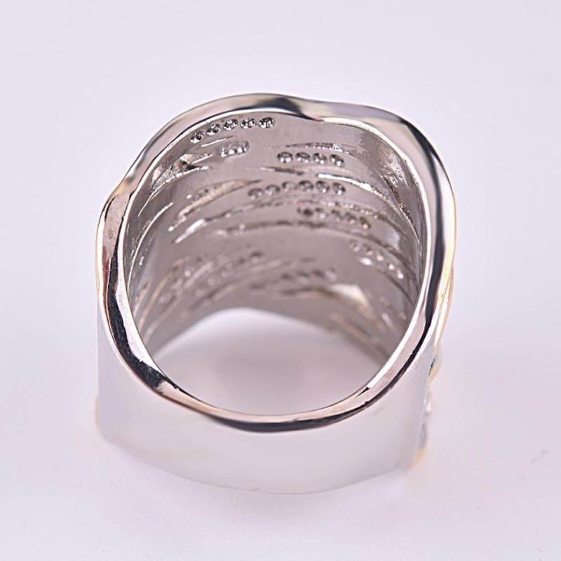 Multi-layer Gold Two-tone Ring High Quality Simulation Crystal Silver Color Wedding Rings For Women Bagues Pour Femme