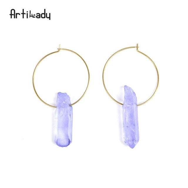 Artilady Raw Crystal Hoop Earrings For Women Small Hoop Earring