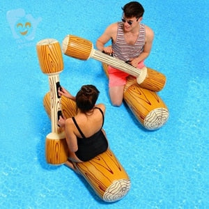 Inflatable Log Joust Set Raft Inflatable Water Joust Pool Float Set Joust Piscina Mattress Water Battle Game