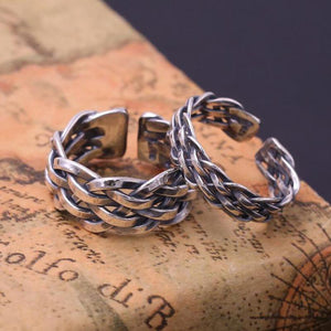 925 Sterling Silver Braided Rings For Men And Women Handmade Thai Silver Jewelry Vintage Twisted Rings Couple Lovers Gift