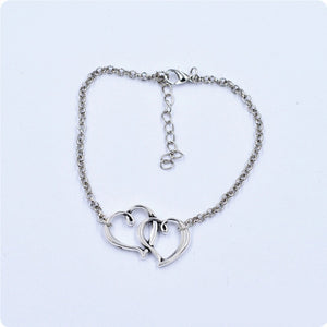 Double Heart Chain Anklet Ankle Bracelet Sexy Antique Barefoot Sandal Beach Foot Anklets For Women