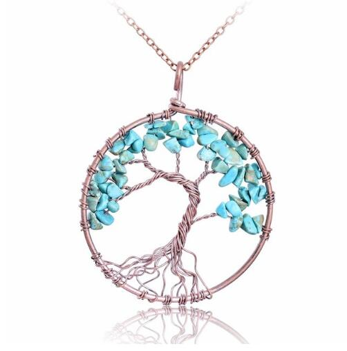 Crystal Natural Stone Tree Necklace