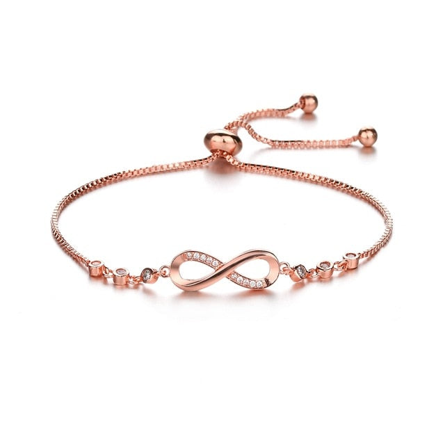 Luxurious Crystal Bracelet Silver Color Adjustable Infinity Charm Bracelets for Women Fashion Jewelry