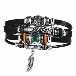 2 pcs Tibet Stone Feather Multilayer Leather Bracelet Eye Fish Charms Beads Bracelets for Men Vintage Punk Wrap Wristband