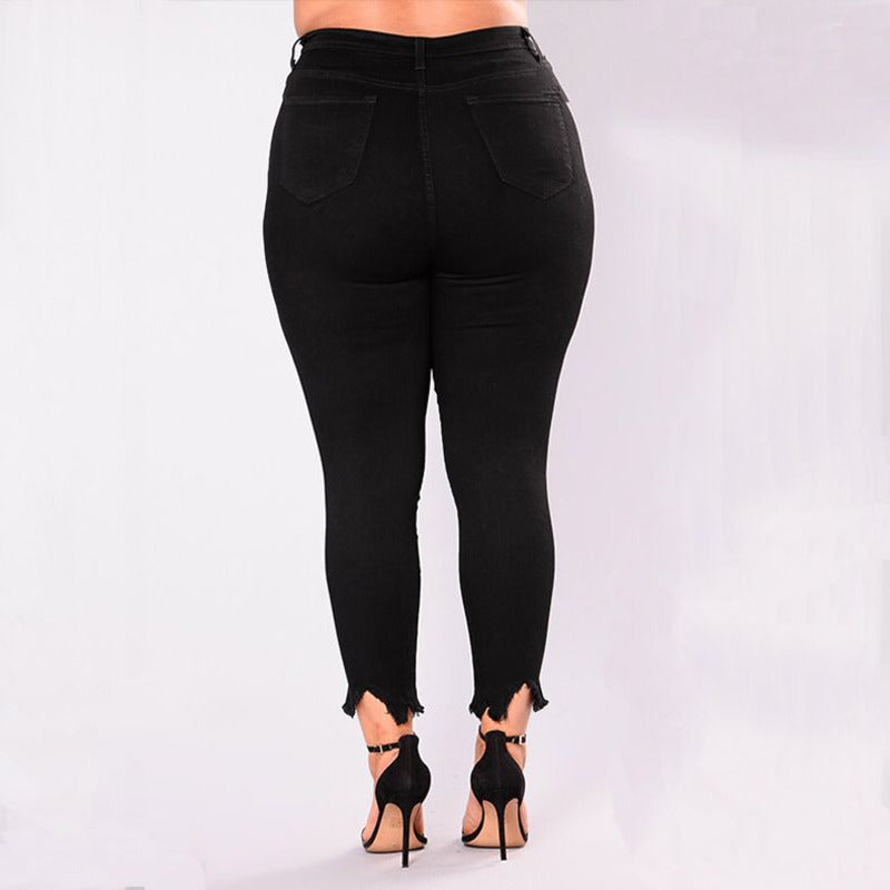 Women Holes Plus Size Jeans Pants Skinny Elastic Pencil Pants Mid Waist Black Jeans Woman Casual Spring 2-7XL Trousers