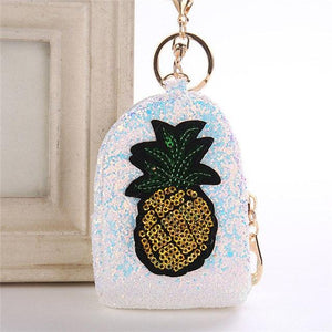Cute Pineapple Keychain Glitter Sequins Key Ring Gifts Charms Bag Accessories Decorative Pendants Key Chain Mini Coin Purse