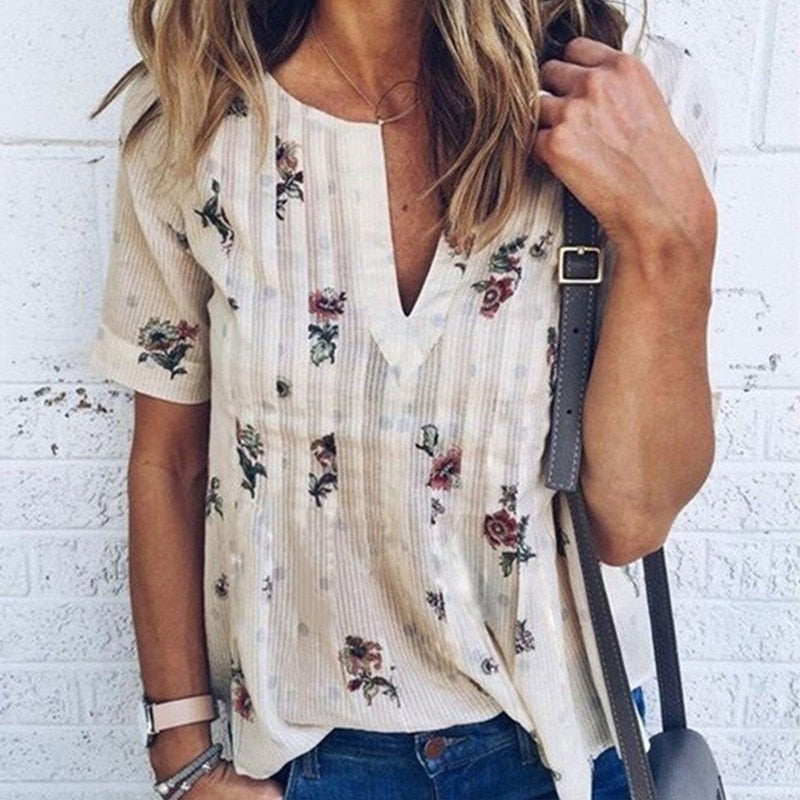 Women Blouse Floral V-Neck Short Sleeve Tops Plus Size Summer Fashion Women Casual Loose Shirt