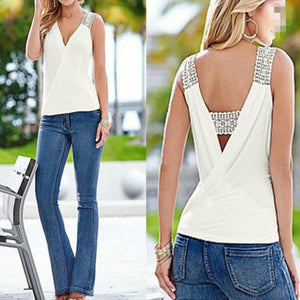Summer Tank Tops Blouse Sleeveless Summer Top Casual Fashion Women Sexy V-neck Casual Blouse Vest Ladies Clothing