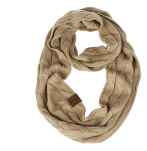 Winter Knitted Cable Ring Scarf Female Autumn Infinity Scarves